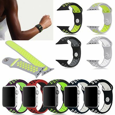 Replacement Soft Silicone Sport Band Bracelet Strap For Apple Watch 38mm / 42mm