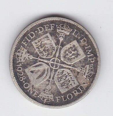 1928 Silver Florin Great Britain King George UK Coin Two 2 Shillings K-562