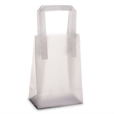 "25 Plain Frosted Plastic Carrier bags 10""x12""+4"" Party Wedding Favour Gift Shop"