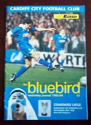 CARDIFF CITY v STANDARD LIEGE EURO CUP WINNERS CUP PROGRAMME 28th SEPTEMBER 1993
