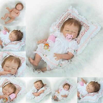 "Full Body Silicone 22""Reborn Girl Baby Doll Newborn Realistic Handamde Kids Gift"