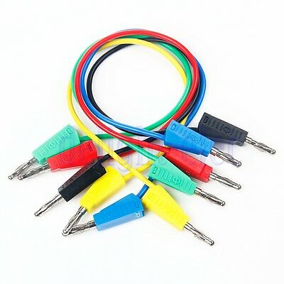 5PCS Silicone Banana to Banana Plugs Test Probe Leads Cable Wire 1FT 15A DE