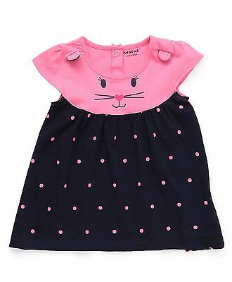 Girls / Kids Size 000,00,0 Dotted Frock /Top Cat Design - Navy Pink -100% Cotton
