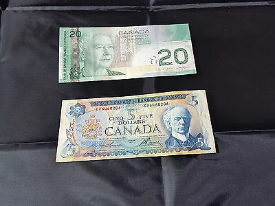Bank of Canada $20 ALV3804760 EF and $5 Dollar CX6460206 VF Banknotes