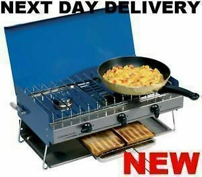 New Best Campingaz Camping Gaz Chef Gas Double Burner Hob & Grill Cooker Stove