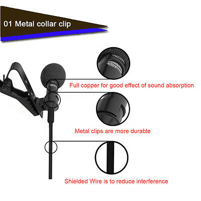 High Sensitive Omnidirectional 3.5mm Tie Clip on Lapel Lavalier Mic Microphone