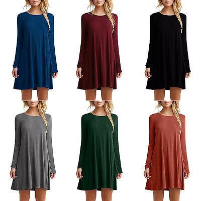 Fashion Women's Casual Loose Long Sleeve Tops T-shirt Blouse Short Mini Dress