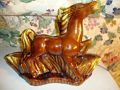 Vintage Mid Century Horse Backlit TV Lamp Planter By Maddux Pottery Calif USA
