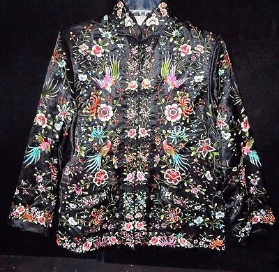 Rare Old Chinese Robe Coat Black Silk Embroidered Floral Birds Mint