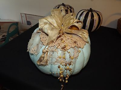 """My Large Handpainted Pumpkin With Mackenzie Childs Parchment Check Ribbon 11"""" Ta"""