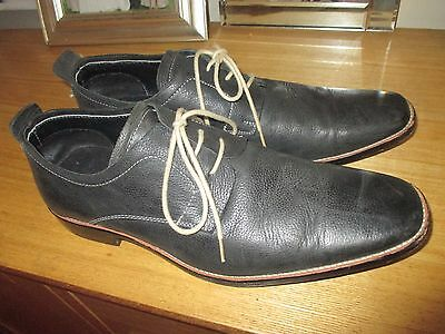 blue leather lace up shoes size 9/43 harrykson