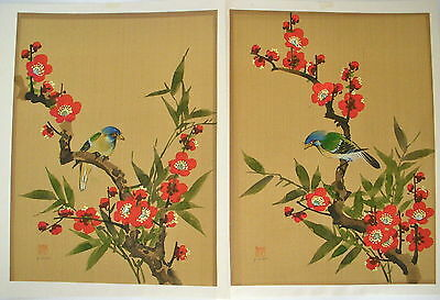 Vintage-2 Chinese Paintings -*bird & Flower* Signed + 1 Seal Of The Artist
