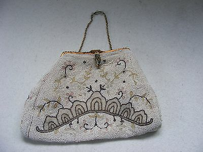 Vintage Micro Beaded purse - French white with browns