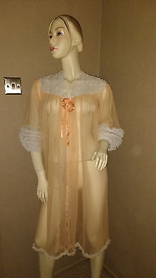 Vintage Sheer Negligee Peach/white Size W Fit 10/14