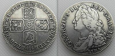 Nice Collectable Silver King George II - LIMA -  Half crown - Coin Dates 1745