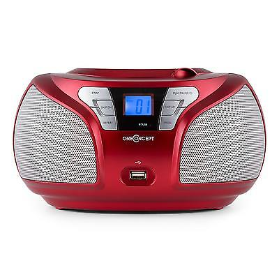 Neu Oneconcept Boombox Ghetto Blaster Cd Mp3 Player Bluetooth Radio Stereo Rot