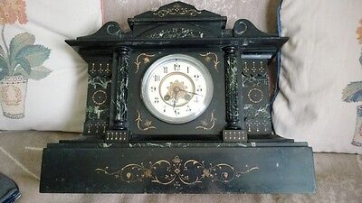 Antique Victorian (1878) slate and marble mantle clock