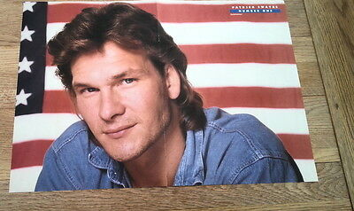 PATRICK SWAYZE 'US flag' Centerfold magazine POSTER  17x11 inches
