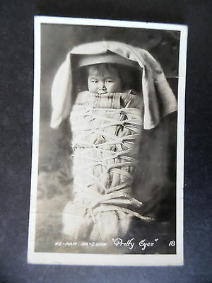 RP Indian Baby in Cradle Board Postcard Used from Gallup New Mexico 1928