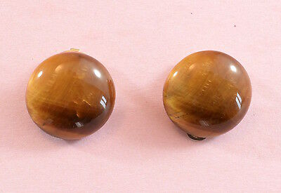 Vintage 1960's charming tigers eye clip on round button earrings