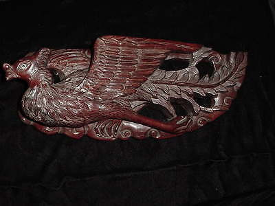 Chinese Hand Carved Phoenix Bird Wall Hanging