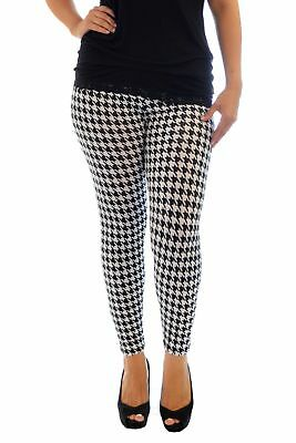 New Womens Leggings Plus Size Ladies Dogtooth Print Pants Full Length Nouvelle