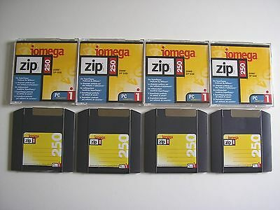 4 x IOMEGA ZIP 250 MB DISKS + CASES - PC FORMAT - USED