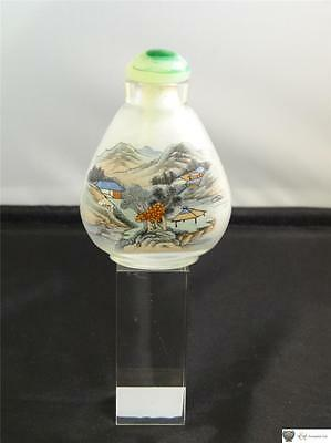Chinese Interior Painted Glass Snuff Bottle, Long Glass Stopper, C. 20th Century