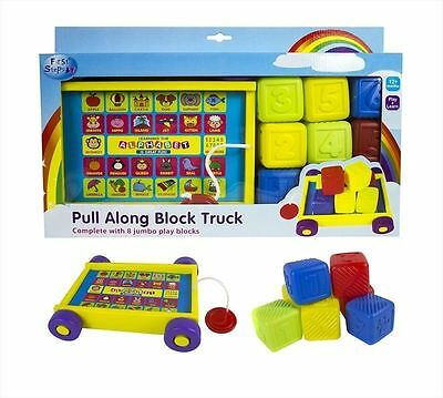 First Steps Pull Along Brick Block Truck With 8 Jumbo Blocks playtime Fun
