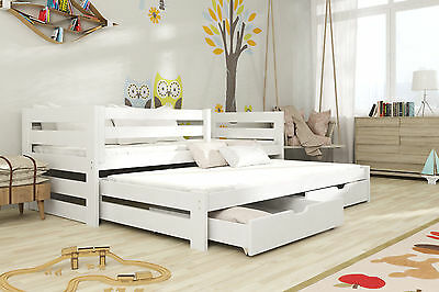 Brand New Kids Children Wooden Trundle Bed with Drawers KUBUS Mattresses