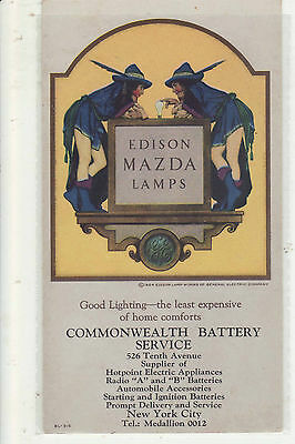 1924 Edison Mazda Lamps Advertising Trade Card Maxfield Parrish