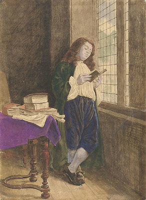 Early 20th Century Mixed Media - Man Reading by the Window