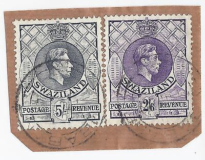 Swaziland 1938 GVI 5s and 2/6d on piece with Mbabane cds - rare postally used