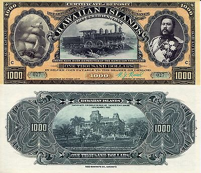 HAWAII 1000 Dollar Banknote Paper Currency Money FUN/ART NOTE BILL King NOT REAL