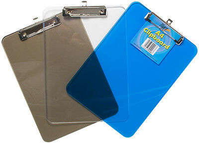 Pack of 6 Clear A4 Translucent Clipboards - Paper Holder Plastic Clip Board
