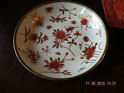 Chrysanthemum & Grasshopper Bowl Porcelain and Brass Hand Painted Vintage