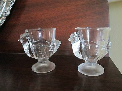 2 French Hens/Chicken Clear Pressed Glass Easter Egg Cups/Jelly Bean Holders