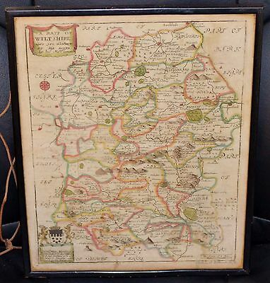 A Genuine Original 17th Century Hand Coloured Map of Wiltshire by Richard Blome