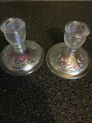 Vintage Imperial Carnival Glass Candlestick Holders Iridescent Floral Pattern