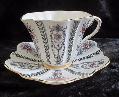 Vintage ROSINA ENGLISH CUP AND SCALLOPED SAUCER WITH GOLD ACCENTS