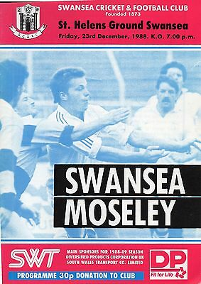 RUGBY PROGRAMME Swansea v Moseley 1988
