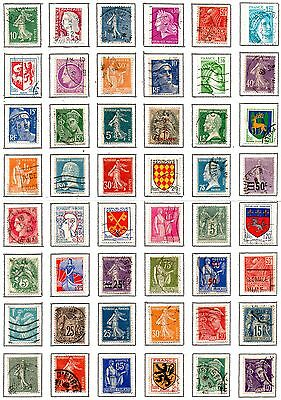 FRANCE 48 used stamps on page.