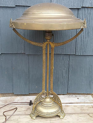 Antique Brass Arts & Crafts Art Nouveau Table Lamp w/ 3 Arms & Brass Pan Shade