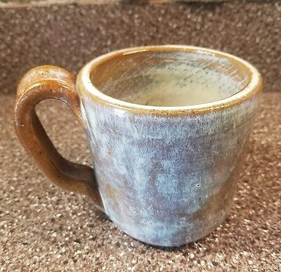 Morris Brown Pottery Coffee Cup, Blue, Brown & Cream Color, NORTH CAROLINA