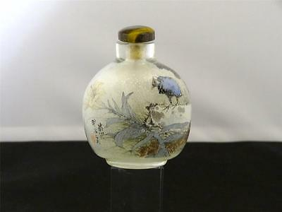 Antique Chinese Interior Painted Glass Snuff Bottle, Tiger's Eye Stopper, 1900