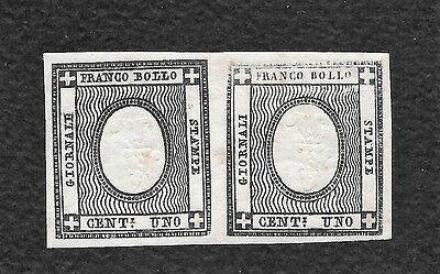 Rares Italy Sardinia Pair Mh Newspapers Stamps -Reverseds Centers Varieties  !