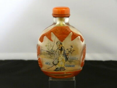 Chinese Interior Painted Glass Snuff Bottle, Coral Toned Overlay, 20th Century