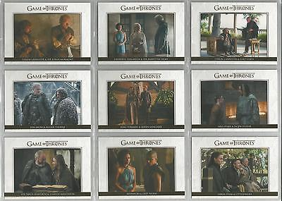 "Game of Thrones Season 5 - ""Relationships"" 10 Card Gold Parallel Set DL21-DL30"