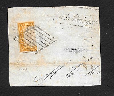Rare 80 Cent Fractionated Sardinia On Papal Watermarked Paper Rrr!