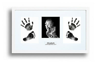 Newborn Baby Hand Print & Footprint Photo White Frame Kit Baby Shower Gift